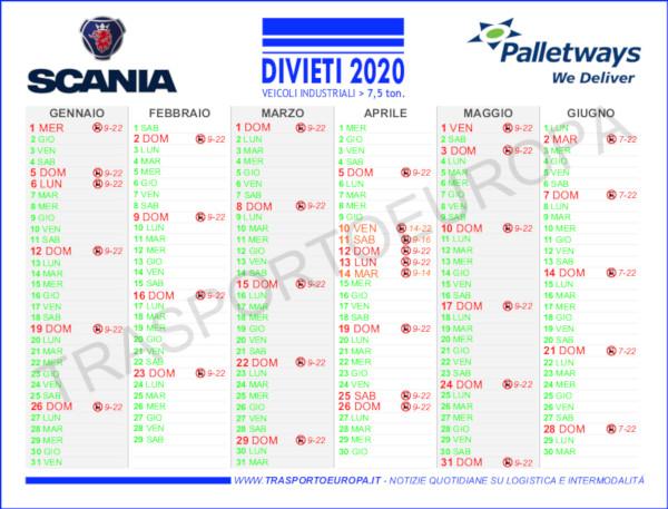 Calendario Divieti Di Circolazione 2021 Calendario dei Divieti di Circolazione 2020 :: Palletways